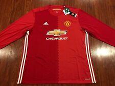 2016-17 Adidas Manchester United Men's Home Long Sleeve Soccer Jersey XXL 2XL
