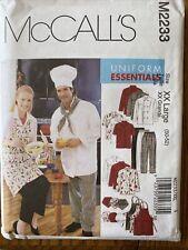 McCall 2233 Pattern Xx L 50-52 Chef Jacket Shirt Hat Pants Apron Uncut Uniform