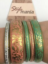 Floral Bangle Set Bangles Lot Embossed Bracelets Pink Green Gold Tone New Small