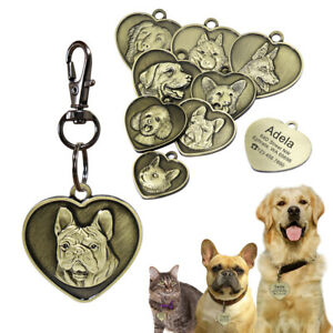 Personalised Dog Tags 7 Breeds 3D Patterns Pet Dog ID Name Collar French Bulldog