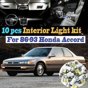10Pcs 6000k White Interior LED Light Bulb Kit Package for 1986-1993 Honda Accord