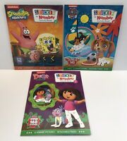New Lot of 3 Nickelodeon Sticker by Number Books DORA, SPONGE BOB & PAW PATROL