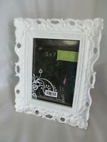 "Vintage Style Metal Picture/Photo Frame 5"" x 7""  Ornate White Art Deco Style New"