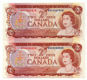 Bank of Canada 1974 $2 Two Dollars Lot of 2 Notes Crow-Bouey ARA ARE Prefix AU