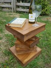 Medium Book Table/Hand Carved/Solid Acacia Wood/Lamp Table/Plant Stand/Waxed