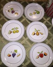 CRATE & BARREL NANCY GREEN 'FRUIT FROMAGE' WINE CHEESE APPETIZER PLATES S/6 NEW