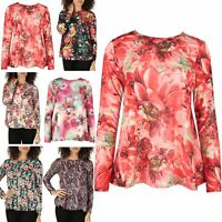 Women Swing Top Ladies Flared Tee T Shirt Flower Printed Long Sleeve Stretchy