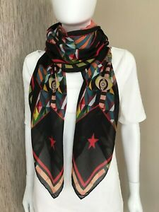 GIVENCHY BLACK STARS & EYE PRINT MODAL & SILK LARGE SCARF MADE IN ITALY