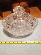 Vintage Lead Crystal Candy Dish With Lid Finial Egg Shaped Collectible Decor