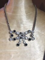 VTG Statement Bow Rhinestone Necklace Runway French Couture Silver Collar