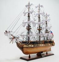 "USS Constitution Old Ironsides Wooden Tall Ship Model 38"" Sailboat Built Boat"