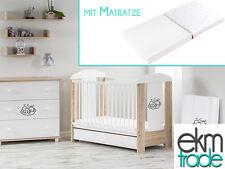 Babybett Kinderbett 120x60 Holz Gitterbett mit Matratze SCHUBLADE beige ekmTRADE