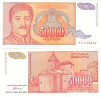Yugoslavia 50000 Dinara 1994 P-142 UNC Hyper Infaltion Banknote