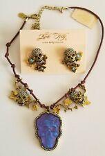 BRAND NEW Kirks Folly Dream Skull Blue Tanzanite w/ skull earrings, brasstone