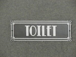 TOILET Door Wood Sign Art Deco Style Silver and Black Bathroom Restroom Sign