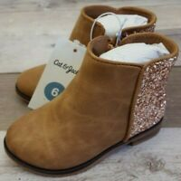 NEW! Cat & Jack Toddlers Girls Rona Glitter Ankle Boots Cognac Brown Size 6, 12