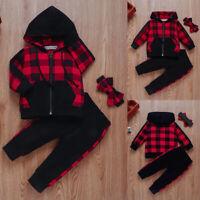 Kids Baby Girls Long Sleeve Hooded Coat+Pants+Headband Plaid 3Pcs Outfits Set SP