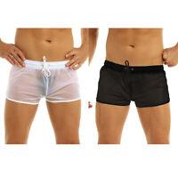 Men's Soft See Through Swim Shorts Swimwear Trunks Underwear Boxer Briefs Beach