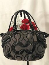 COACH Madison Sophia Op Art Silver Grey Black Sequin Satchel Bag #15945
