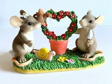 Charming Tails Keeping Our Love Alive Mouse Mice Gardening Heart Resin Figurine