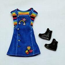 Barbie sister Skipper Doll Clothes Rainbow Emoji Dress & black boots Mattel New