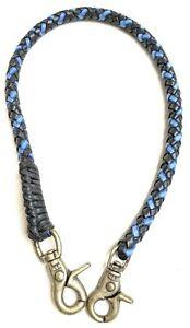 Biker chain Black Blue braided leather Heavy Duty Trucker wallets made in USA