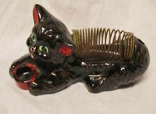 Vintage antique black cat letter, pen/pencil holder spring figurine Japan