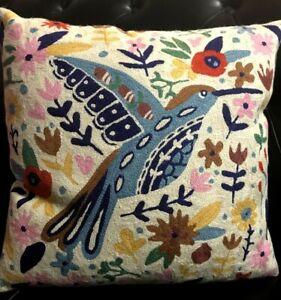 Handmade Wool Pillow Embroidery Birds Art Boho Fashion Home Decor Crafts