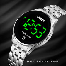 Men's Touch Screen Waterproof Stainless Steel Time Digital LED Quartz Watches