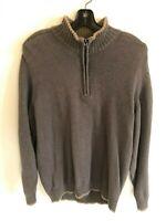 COLUMBIA Men's Brown 100% Cotton Long Sleeve Quarter Zip Sweater-Size L