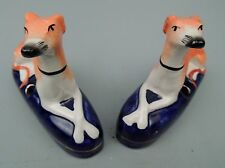 Pair 19c Staffordshire Pottery Whippet Inkwells Greyhounds Figurine pt