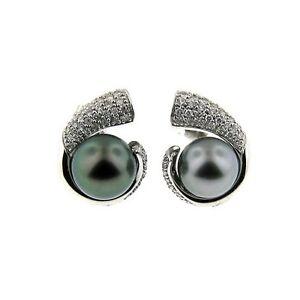 $3900  0.80 CT WHITE GOLD FASHION DIAMOND & BLACK TAHITIAN PEARL EARRINGS 14 KT