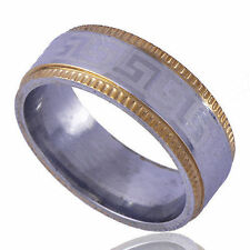 Great Wall Pattern Womens Mens Gold Silver Silver Plated Pinky Ring Size 10