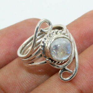 Rainbow Moonstone 925 Sterling Silver Cocktail Ring Jewelry - ANY SIZE 4 TO 12