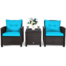 3PCS Patio Rattan Wicker Furniture Set Cushioned Conversation Set Sofa Turquoise