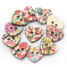 100 Pcs Mixed Color Fancy Heart Pattern DIY Wood Buttons Sewing Exquisite Items
