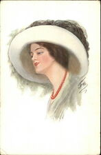 Beautiful Woman in Hat - Red Necklace - FOB? c1910 Postcard