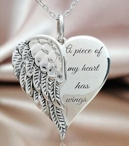 Silver Angel Necklace A Piece of My Heart Has Wings Pendant Mum Sister Dad Love