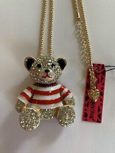 Betsey Johnson RED Sailor Suit Big Bear Rhinestone Brooch Pin/NECKLACE-BJ50403