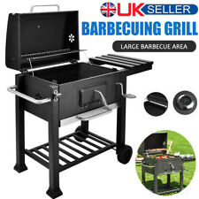 Large Charcoal BBQ Smoker Grill Trolley Cart Cooking Outdoor Garden Barbecue UK