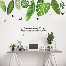 Summer Green Plant Leaves Art Vinyl Mural Room Decor Wall Stickers Decals New UK