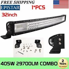 7D+ 32IN 405W LED CURVED LIGHT BAR TRI-ROW OFFROAD JEEP FORD SUV 4WD VS 52' 300W