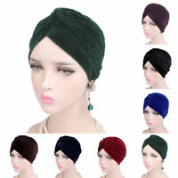 Fashion Casual Stretch Gold Velvet Headwrap Turban Hat Women Muslim Chemo Cap G