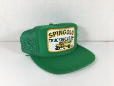 Vintage 1980s Spingolo Trucking Co Mesh Patch Green Flatbill Snapback Hat Cap