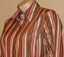 Women's Faconnable 100% Cotton Multi-Color Striped Button Down Career Shirt L