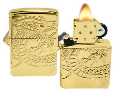 Zippo 29265 Multicut Dragon High Polish Finish Armor Gold Plate Lighter New