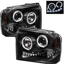 2PC Black LED Halo Projector Headlights For 2005-2007 F250 F350 F450 Superduty