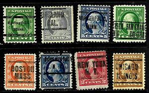"""CAL MINN MASS PA ILL"" Washington Franklin Precancel Collection 1-20 Cent US95"