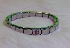 Stainless Steel Stretch Italian Charm Rhinestone Flower Bracelet