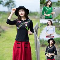 Retro Chinese Women Shirt Long Sleeve Blouse Cheongsam QiPao Embroidery Tops